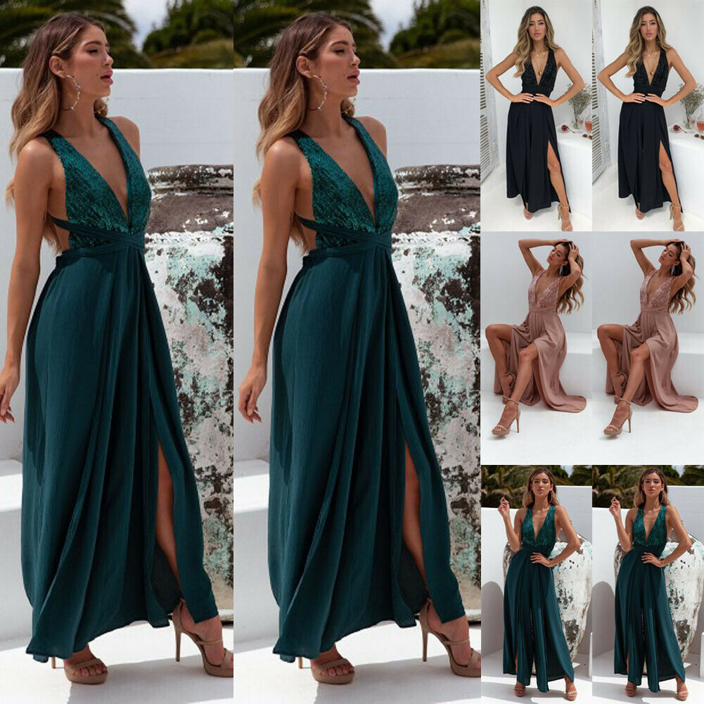 Women Jumpsuit Sexy V Neck Sleeveless Backless Wide Leg Loose Jumpsuit Sexy Ladies Party Clubwear Femme Summer Clothes