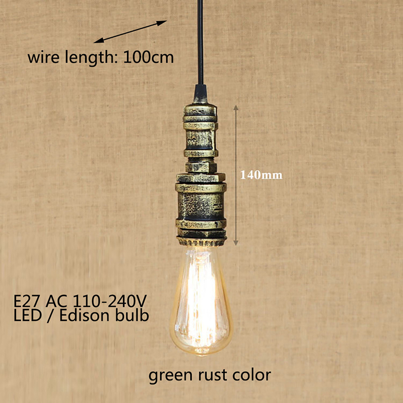 Industrial iron water pipe loft steam vintage pendant lamp cord E27 led lights for personalized bar restaurant cafe