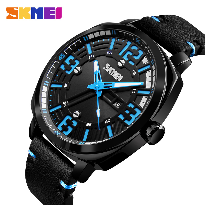 NEW SKMEI Reloj De Los Hombres Men's Quartz Watch Waterproof Mens Watches Leather Date Casual Wristwatch Relogio Masculino