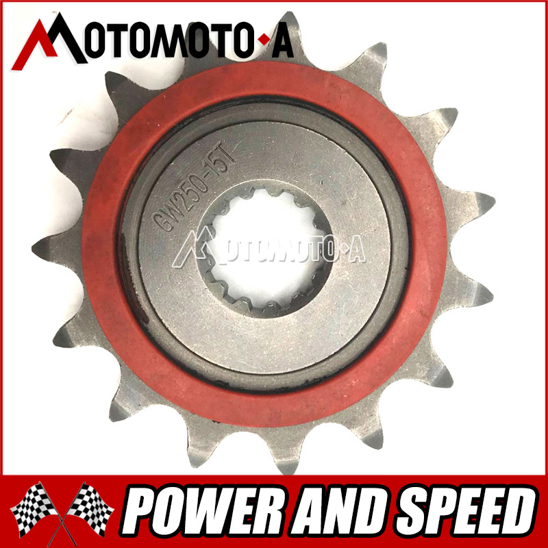 Free Shipping Motorcycle Improved Sprocket Chain Wheel Front Fly Wheel 15T For Suzuki GW250 GSX250R DL250 1pc