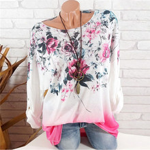 Fashion 5XL Plus Large Size Women's T-Shirts Spring Tops New Leisure T-Shirt White Loose Flower Print O Neck Long Sleeve Shirts(China)