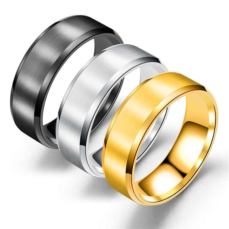 2019 ใหม่สีดำไทเทเนี่ยมแหวนผู้ชายแหวนเงินผู้หญิง Glossy อุปกรณ์เสริมเครื่องประดับแหวนคู่แหวนแฟชั่น