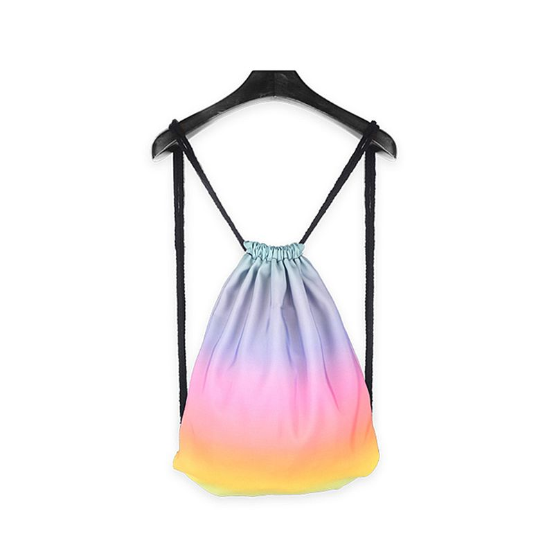 2019 New Gradient Drawstring Bag Ombre School Swimming Travel Cinch Sack Sports Backpack