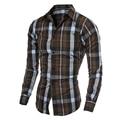Vestidos de Tela Escocesa de los hombres camisa camisa de manta en jaula joven Blusa Blusas Diario de Negocios de Ocio Camisas Masculinas armario tops