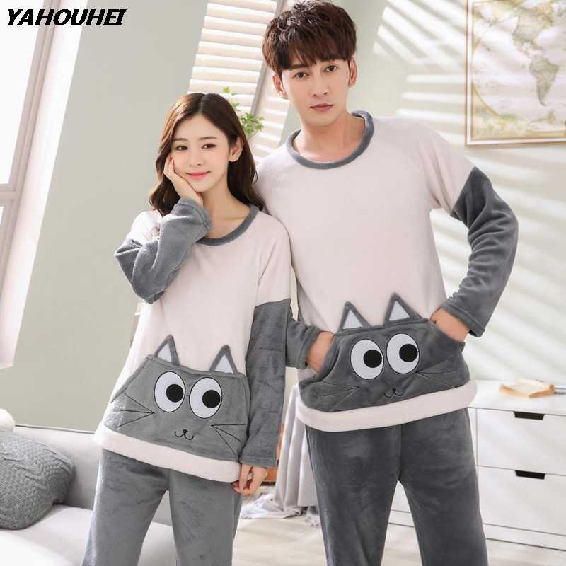 cb5a90e37eec 2018 Winter Couple Thick Warm Flannel Pajama Sets for Women Long Sleeve Cute  Cartoon Coral Velvet