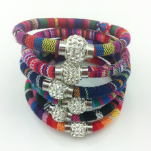LEMOER Bohemian Handmade Knitted Ribbon Bracelets Bangles for Women Crystal Ball Magnetic Charm Bracelet pulseira Ethnic Jewelry(China)