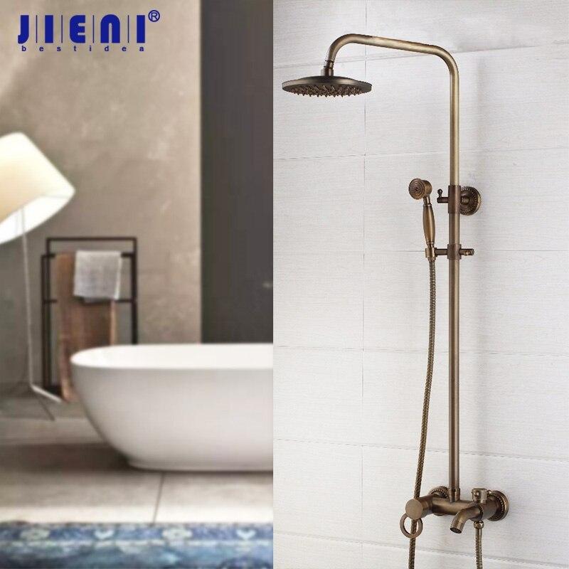 JIENI 8 Inch Antique Brass Flexible Retro Vintage Wall Mount Bathroom Shower Head Control Valve Hand Sprayer Outlet Shower Set