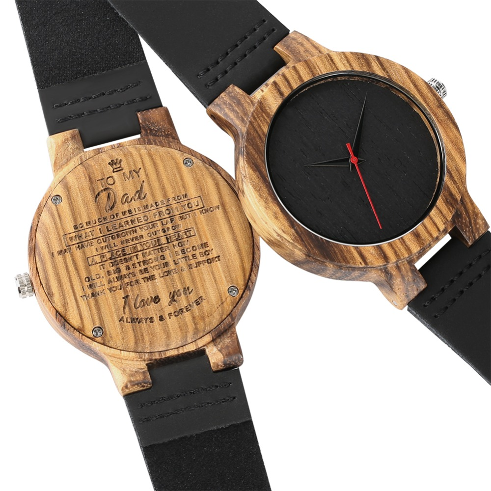 Wooden Watch Quartz Movemnet Watches Lovers Leather Band Handmade Natural Wooden Watch Valentine's Day Gift Couple Watch Leisure