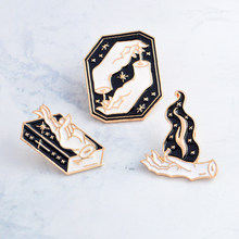 Witch Hands Stars Flame Magic Book Brooch Black Hand Gesture Enamel Pin Sweater Jeans Lapel Badge Gifts Witch Punk Jewelry(China)