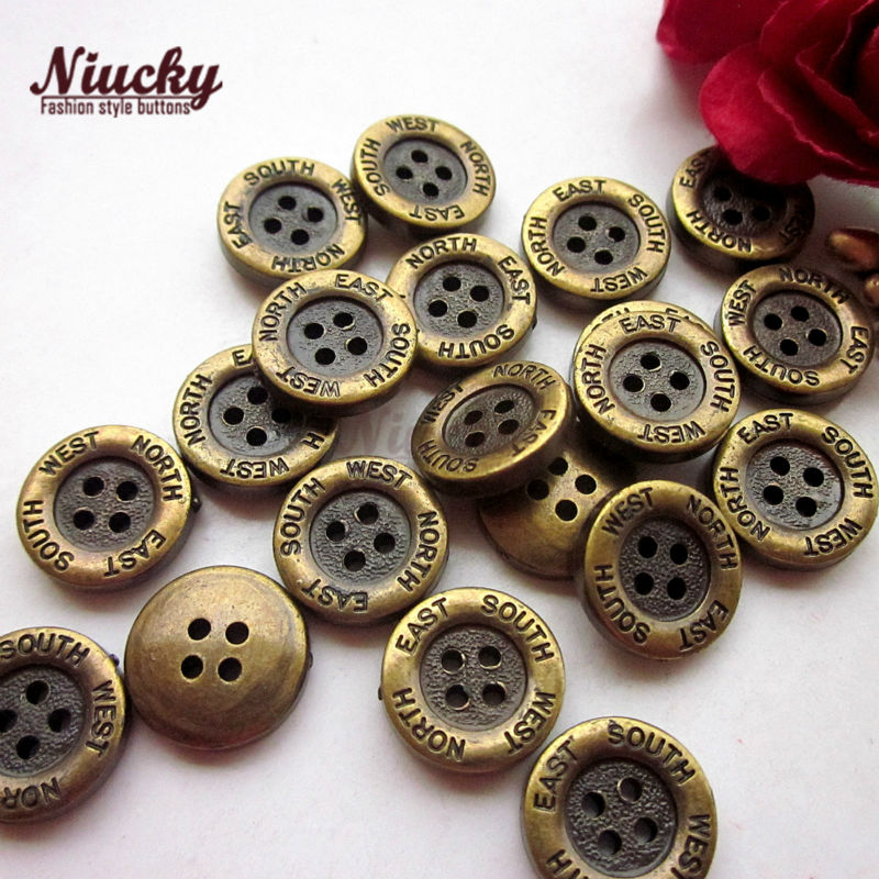 Niucky 12.6mm 1/2 4 holes Bronze Round south east north west suit sewing buttons Scrapbooking craft clothing buttons P0201-014