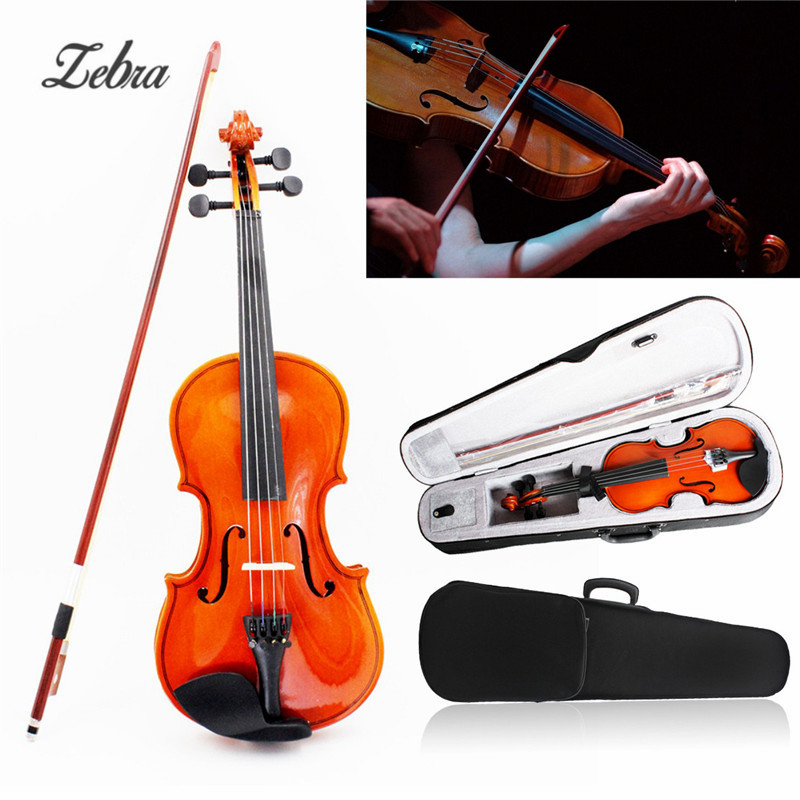 Full Size 4/4 Stringed Instrument Fiddle Natural Acoustic Violin with Violin Case Bow Rosin For Musical Lovers Beginners Gift full size 4 4 solid basswood electric acoustic violin with violin case bow rosin parts accessories for musical instruments lover