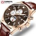Топ Marke CARNEVAL Luxus Automatische Uhr Männer Kalender HD Leucht Saphir Wasserdicht Mode Casual Mechanische Uhren Herren
