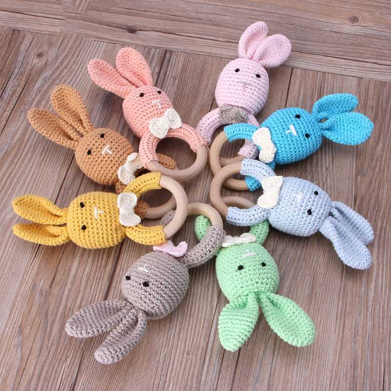Baby Bunny Ear Teether Wooden Teething Ring Newborn Sensory Toy Shower Gift safe teething toys wooden teether