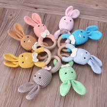 Baby Bunny Ear Teether Wooden Teething Ring Newborn Sensory Toy Shower Gift safe teething toys wooden teether(China)