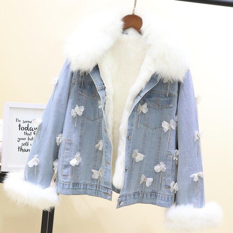 Jeans Amovible Blanc Fourrure Denim Hiver Col Jean Intérieure Appliques Réel Vestes Maille Splice Tassel Fox Manteau De Veste Femmes Cfw6fqa