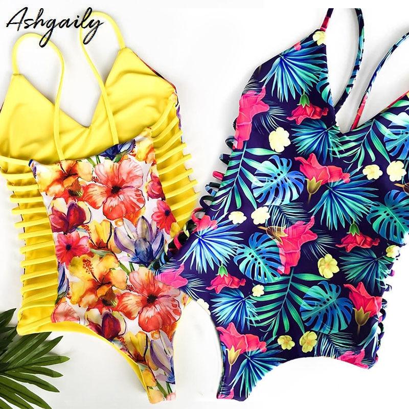 2019 New Sexy One Piece Swimsuit Women Swimwear Cut Out Bathing Suit Summer Push Up Monokini Print Swim Suit Beach Wear Female
