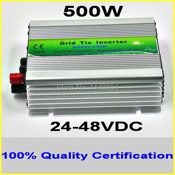 500W 24-48VDC MPPT Grid Tie Inverter,500-600W 36V DC to AC 120V or 230V Pure Sine Wave Output Solar Wind Power Home Use Inverter