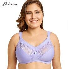Delimira Women's Wirefree Unlined Full Figure Support Plus Size Minimizer Bra