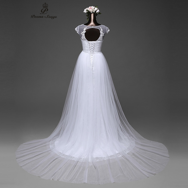 Poemssongs Elegant  Mermaid Wedding dress 2020 removable skirt  with a train and lace back vestido de noivas 2017ball gown