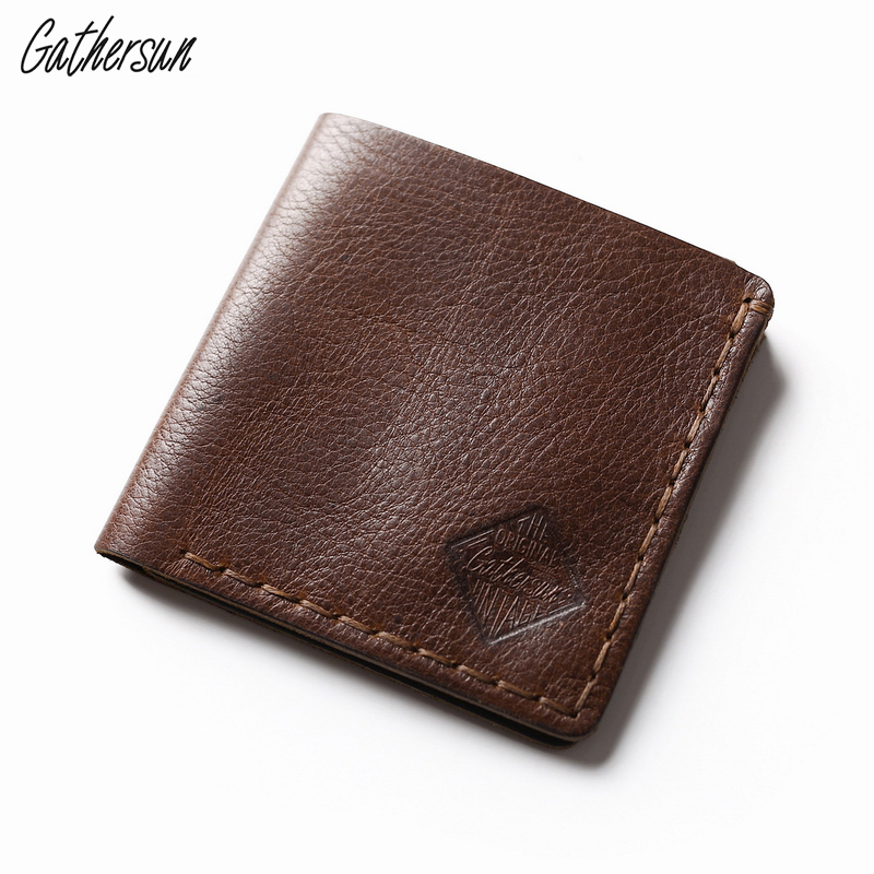 Gathersun Handmade Leather Square Wallet Unisex Short Pocket Wallet With Coin Pocket And 3 Credit Card Slots