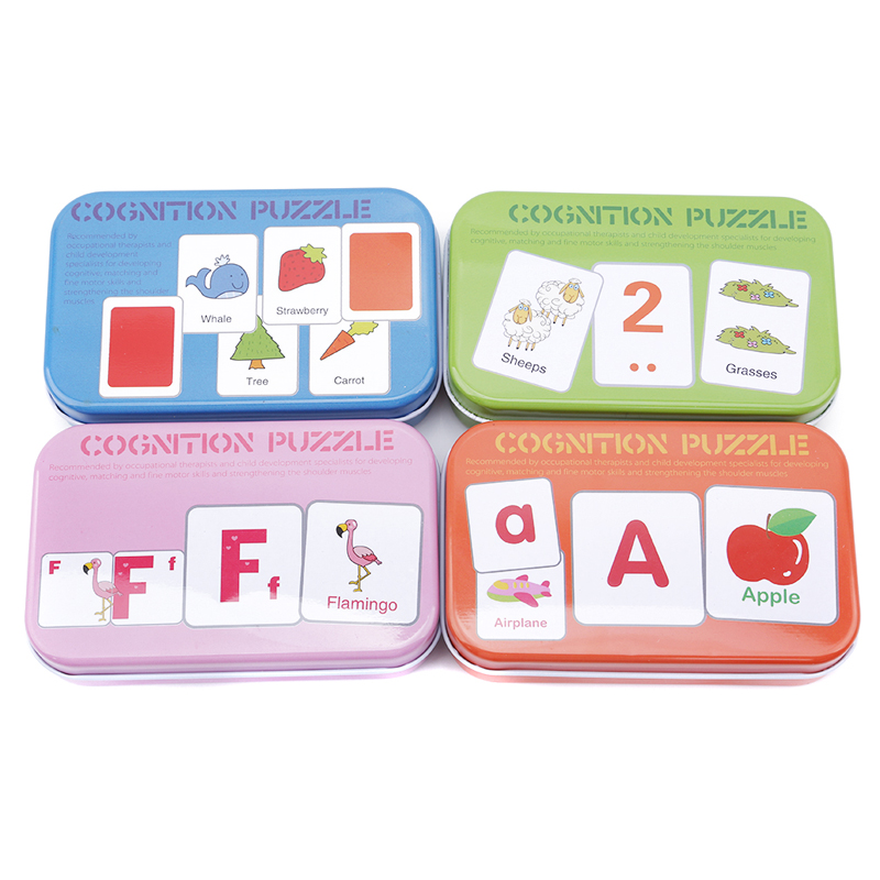 Baby Kids Cognition Puzzle Toys Toddler Iron Box Cards Matching Game Kids Toy