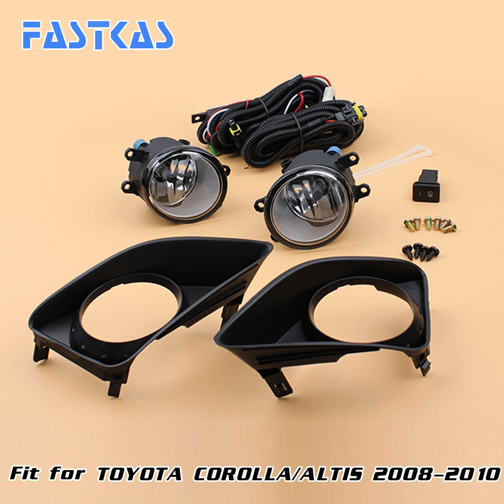 12v Car Fog Light Assembly for Toyota Corolla/Altis 2008-2010 Front Left and Right set Fog Light Lamp kit with Harness Relay 2 pcs set car styling front bumper light fog lamps for toyota venza 2009 10 11 12 13 14 81210 06052 left right