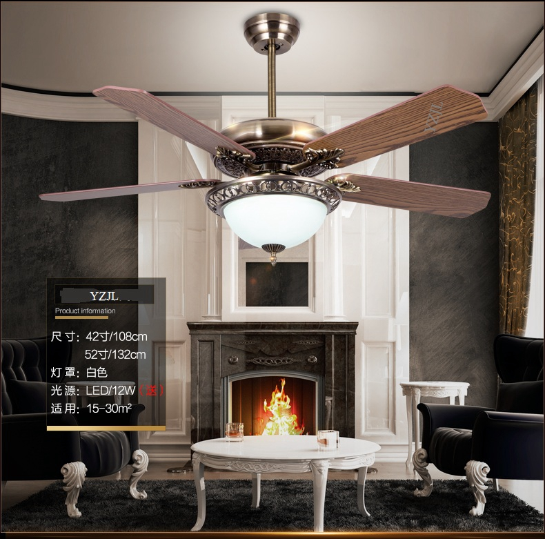 Living Room Dining Room European Antique Wood Leaf Fan Pendant Ceiling Fan  Lamp Retro LED American