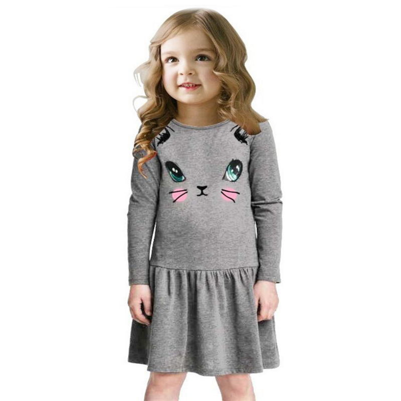e46a58f53faff US $4.64 30% OFF|Princess Girls Dress 2018 New Fashion summer Cat Print  Children Long Sleeve Cartoon baby girl Cotton Party Dresses for kids-in ...