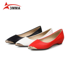 3MMA New Women Pointed Metal Toe Loafers Women Ballerina Flats Ladies Slip on Flats Spring Casual Shoes for Women Big Size 34-43