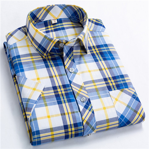 Checkered shirts for men Summer short sleeved leisure slim fit Plaid Shirt square collar soft causal male tops with front pocket 11