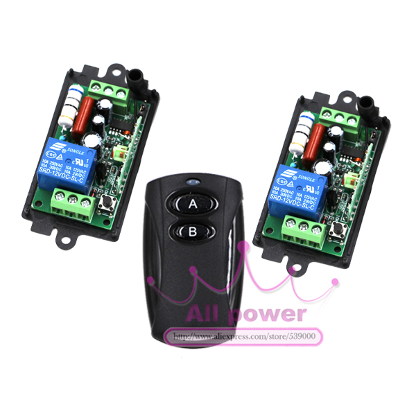 High Quality New 110V 220V 10A 1 Channel Wireless Relay Remote Control Switch RF 315MHz 1 Transmitter + 2 Receivers free shipping y f211a1n5 5 channels rf wireless remote control switch 5 receivers and 1 remote 220v 110v 315mhz