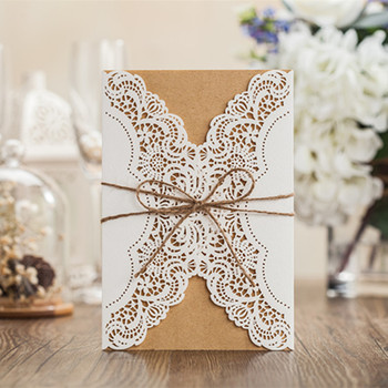 Rustic Laser Cut Wedding Invitations Cards Lace Sleeve Pocket Burlap Tie for Engagement Baby Shower Party Supplies 50pcs/lot