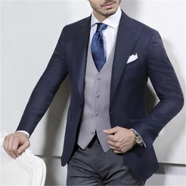 New Navy Blue Coat With Grey Vest Wedding Suits For Men 3pieces