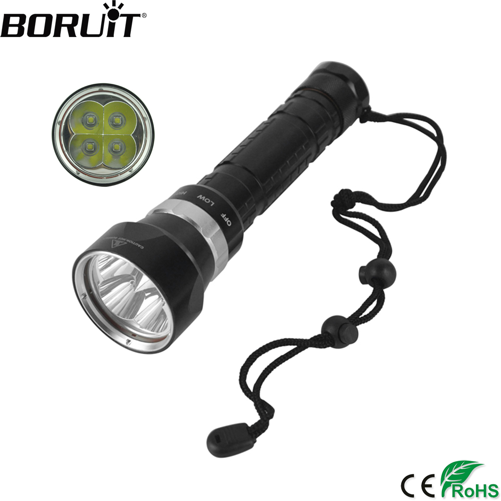 BORUiT 4000LM XM-L2 LED Scuba Diving Flashlight 3-Mode Underwater 100M Torch Diver Waterproof Portable Lantern by 26650 Battey бра reccagni angelo 6208 a 6208 1