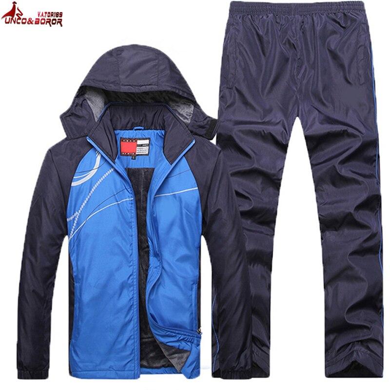UNCO & BOROR hiver veste hommes mode épaissir polaire sweats à capuche chauds survêtements hommes ensemble parka veste manteau sportsuit taille L ~ 4XL 5XL - 2