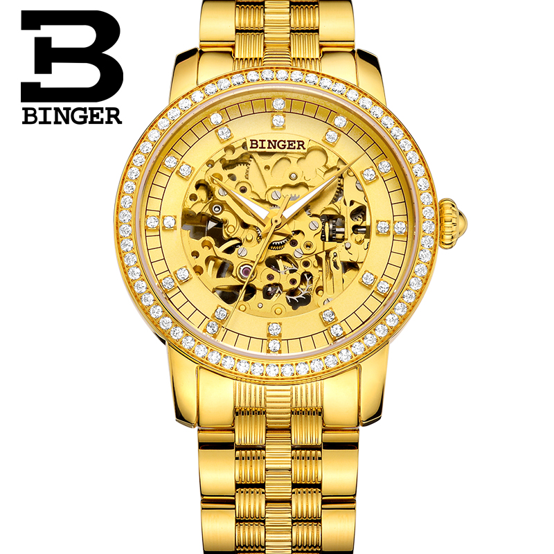 BINGER Luxury 18k Gold-plated Automatic Mechanical Watches Classic Hollow Design Couple Watches For Men And Women B-5051G
