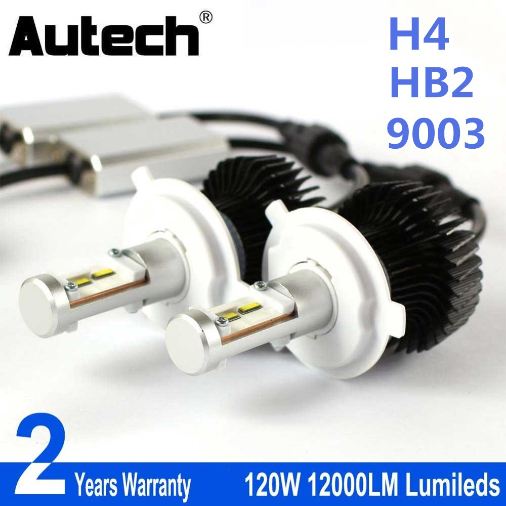Autech LED Headlight H4 HB2 9003 Car Headlamp Bulb Head Lights 12V Fog Bulbs All in one Headlights kit 120W 12000LM CSP chips