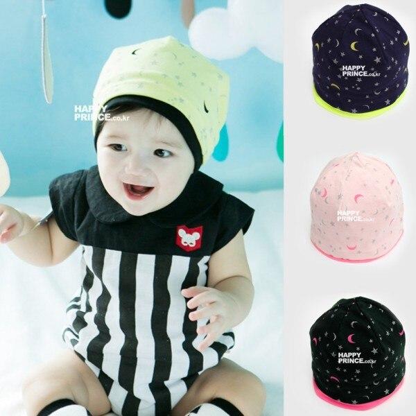 Newest 6-36Months Korean Baby Kid Girls Boys Child Cute Moon Stars Beanie Cap Infant Cotton Soft Hats Cute