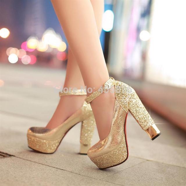 Moda zapatos de tacón alto plataforma del talón grueso paillette boda oro plata zapatos de vestir de novia formal