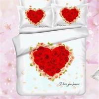 Eu Te Amo Tamanho Conjunto de Cama Rainha Coração Vermelho Romântico Rosa impressão Têxtil Capa de Edredão Folha Plana 100% Algodão Presentes do Dia Dos Namorados