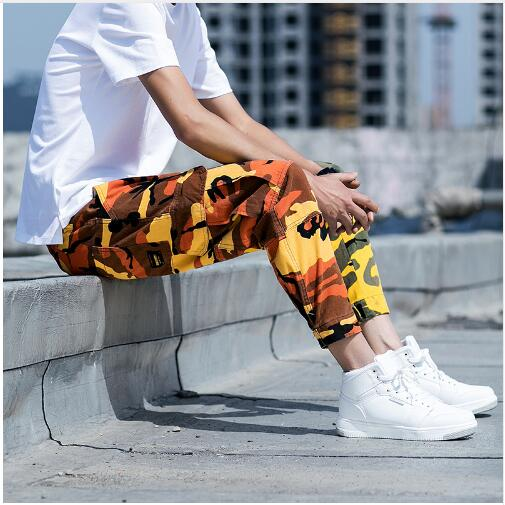 2018 Mens Camouflage Tactical Cargo Pants Men Joggers Boost Military Casual Cotton Pants Hip Hop Ribbon Male army Trousers