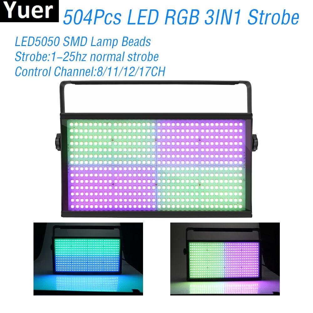 New 504pcs LED RGB 3IN1 Strobe Lights DMX512 8/11/12/17CH DJ Disco Lihgt Wedding Party Flashing Club Color Music Effect Lighting