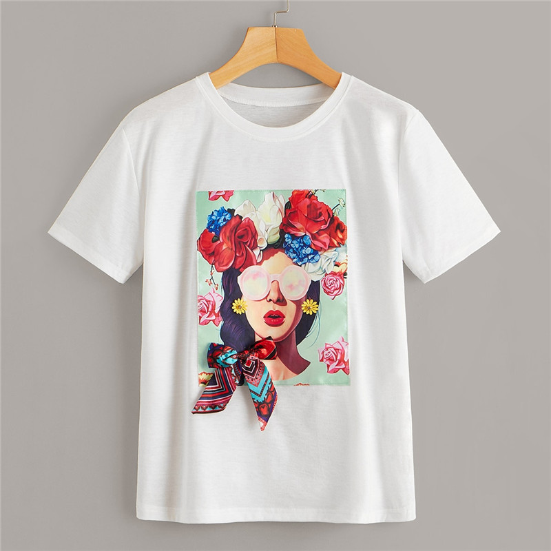 Floral and Figure Print Bowknot Detail Summer Top Tee 1