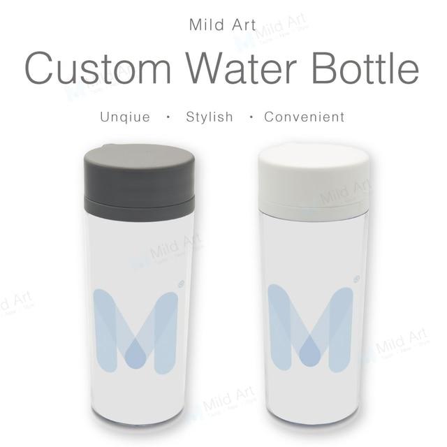 custom plastic insulated water bottle 300ml black white art print