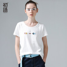 Toyouth New Harajuku Fish Printed Women Female T-shirts Casual Tee Tops Summer Short Sleeve Cotton White T shirt Women Clothing(China)