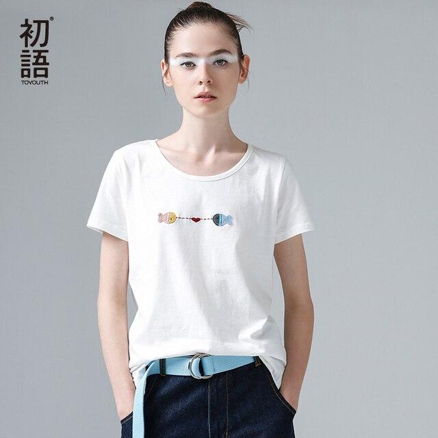 Toyouth 2017 Для женщин летние простые Футболки для женщин Вышивка рыбок круглым вырезом Футболки для женщин женские свободные повседневные футболки белый Цвет