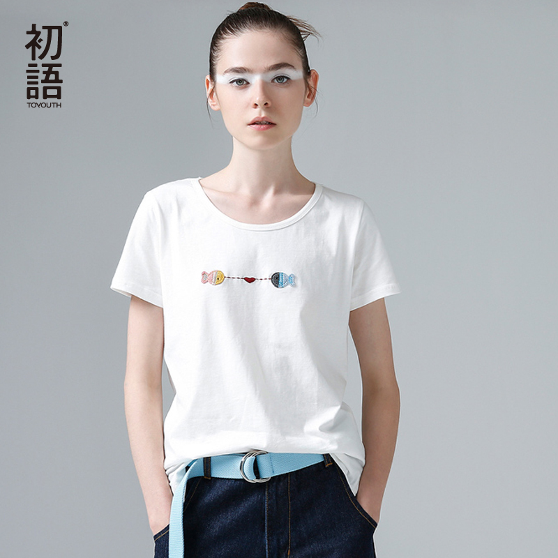 Toyouth New Harajuku Fish Printed Women Female T-shirts Casual Tee Tops Summer Short Sleeve Cotton White T shirt Women Clothing