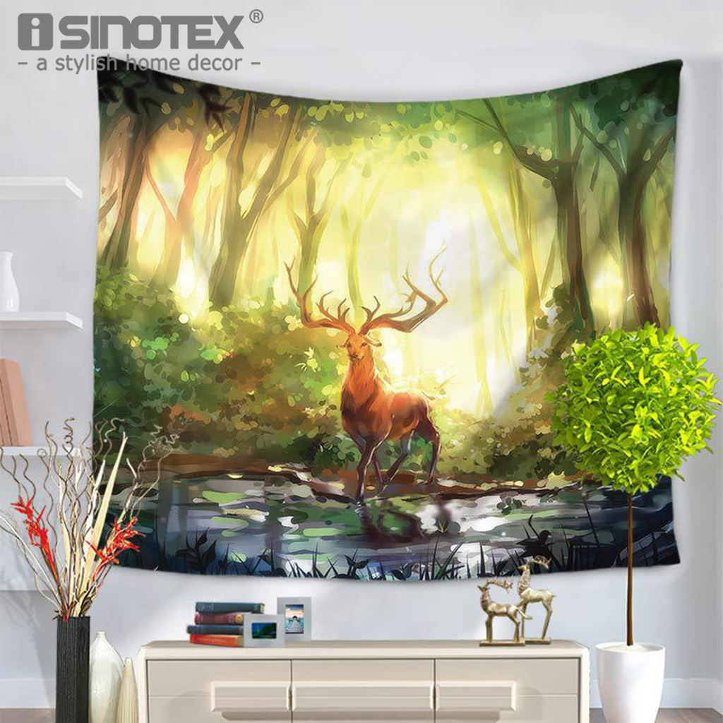 Polyester Fabric Tapestry Home Textile Blanket Throws Christmas Elk ...