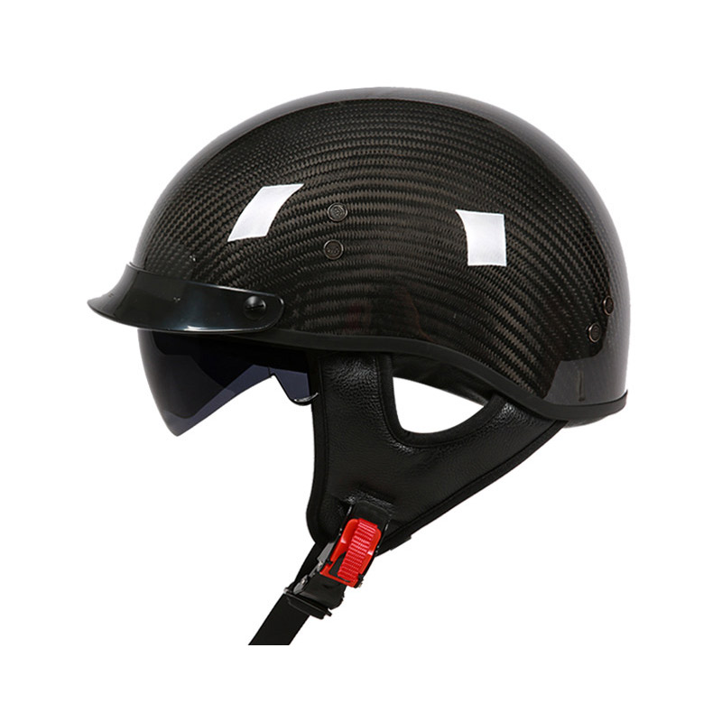 VCOROS in fibra di carbonio moto Harley casco con visiera parasole interna lente mezzo vintage viso moto caschi moto helme