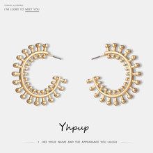 Yhpup New 2018 Fashion Vintage Punk Golden Sunshine Stud Earring Zinc Alloy For Women Statement Charm Earrings Jewelry Bijoux(China)